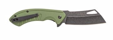 Picture of RALLY BLACK STONEWASH STAINLESS STEEL BALDE - G10 OD GREEN